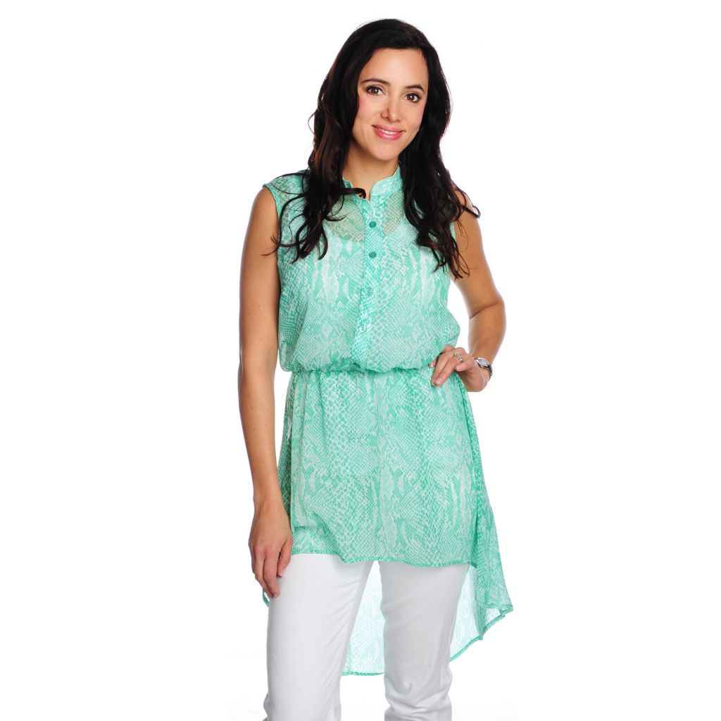 716-761 - Kate & Mallory Yoryu Sleeveless Printed Hi-Lo Sheer Tunic