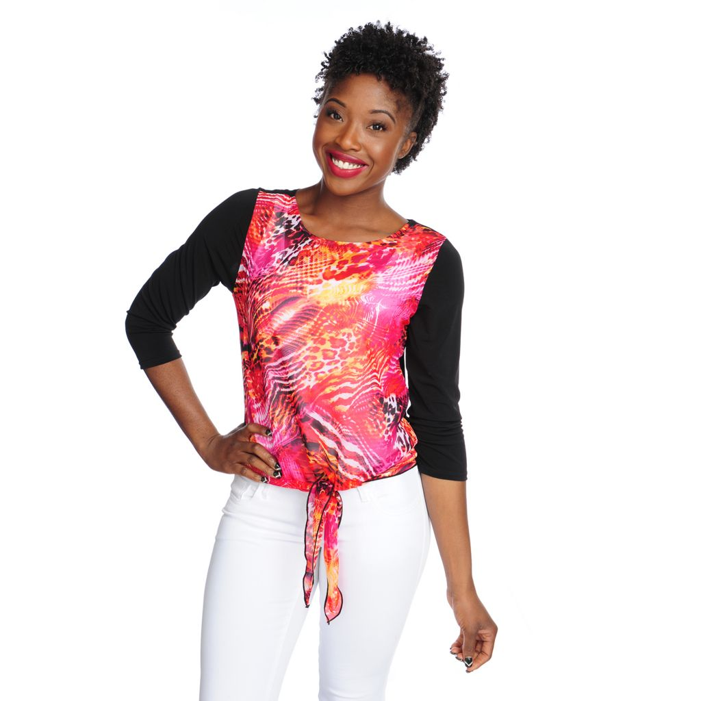 716-769 - Love, Carson by Carson Kressley Mixed Media 3/4 Sleeved Tie-Front Top