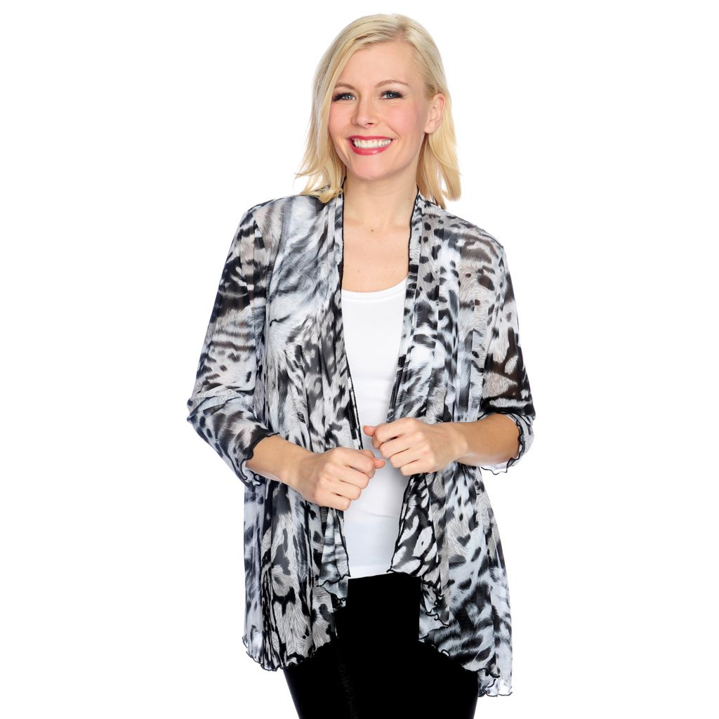 716-770 - Love, Carson by Carson Kressley Sheer Knit 3/4 Sleeved Printed Cardigan