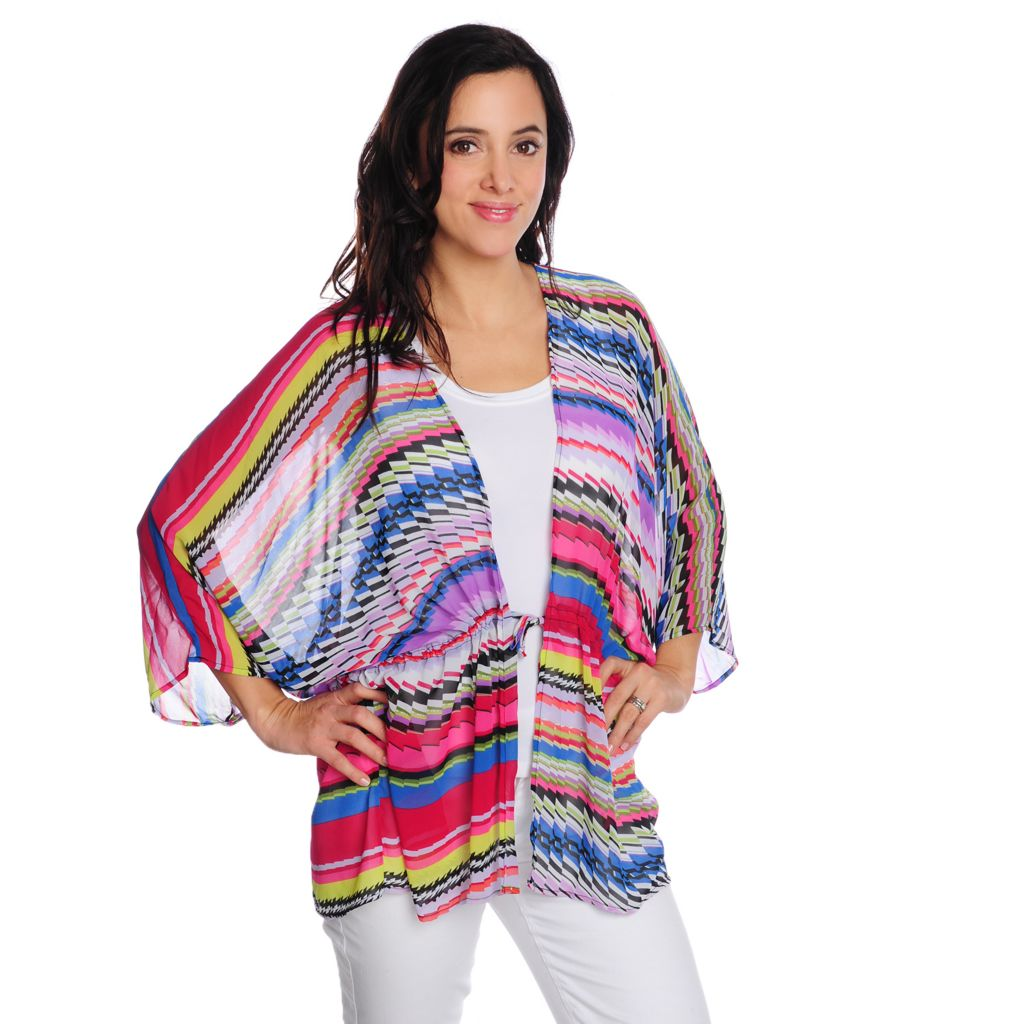 716-771 - Love, Carson by Carson Kressley Printed Chiffon Kimono Sleeved Drawstring Blouse
