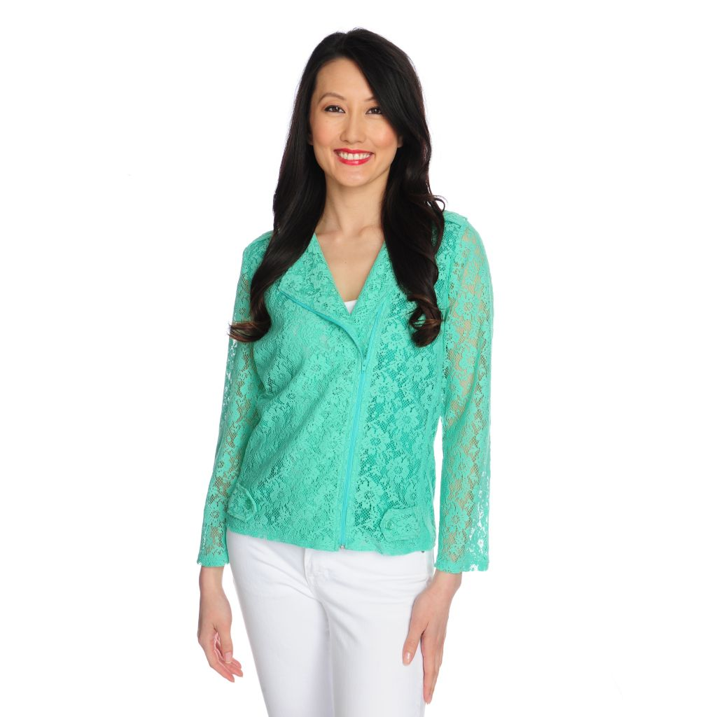 716-775 - Love, Carson by Carson Kressley Lace 3/4 Sleeved Moto Jacket