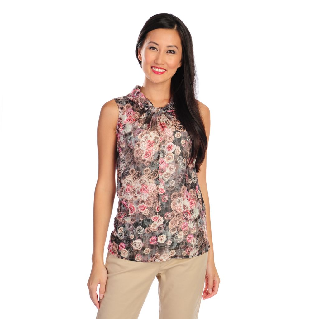 716-780 - Brooks Brothers® 100% Silk Sleeveless Printed Blouse w/ Camisole