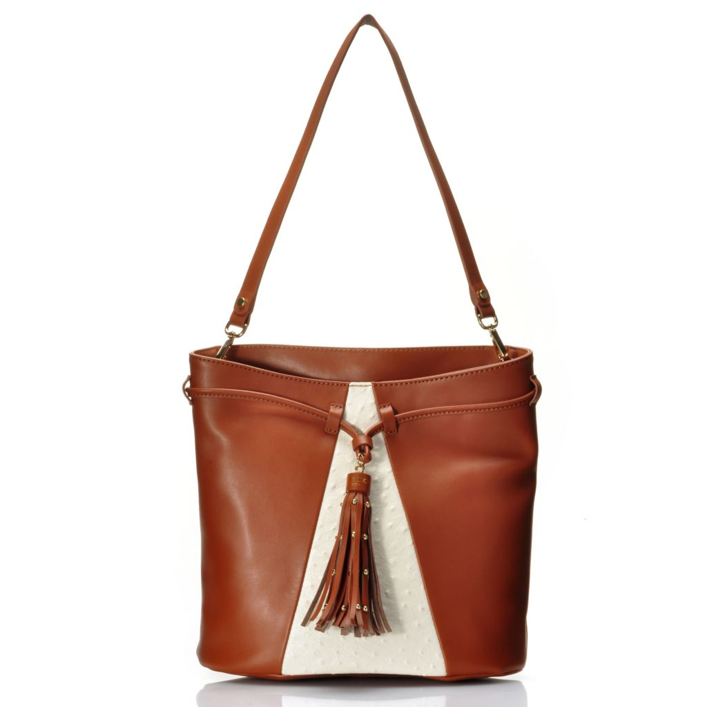 716-787 - Jack French London Grained & Ostrich Embossed Leather Drawstring Bucket Bag