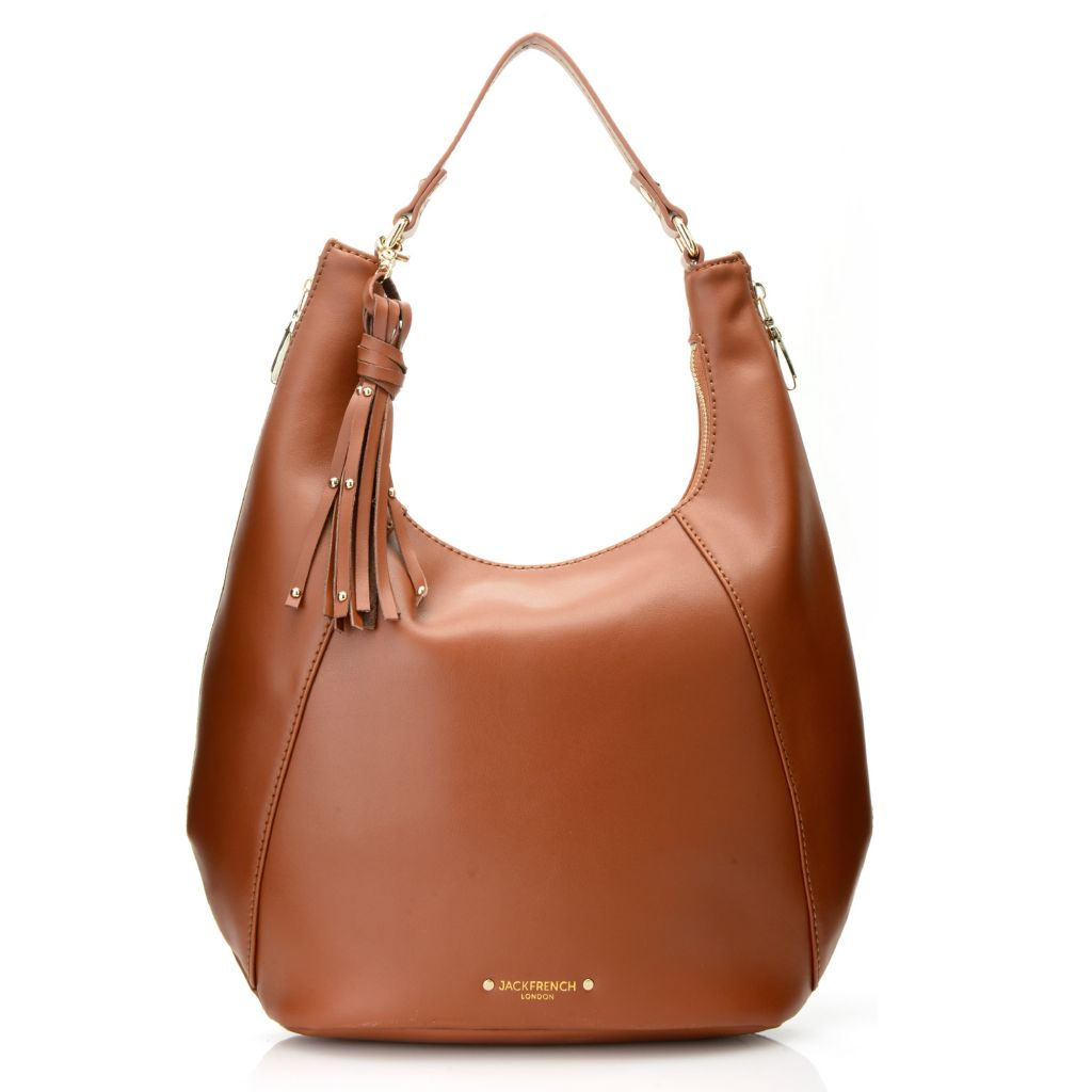 716-791 - Jack French London Grained Leather Zip Top Gusseted Hobo Handbag