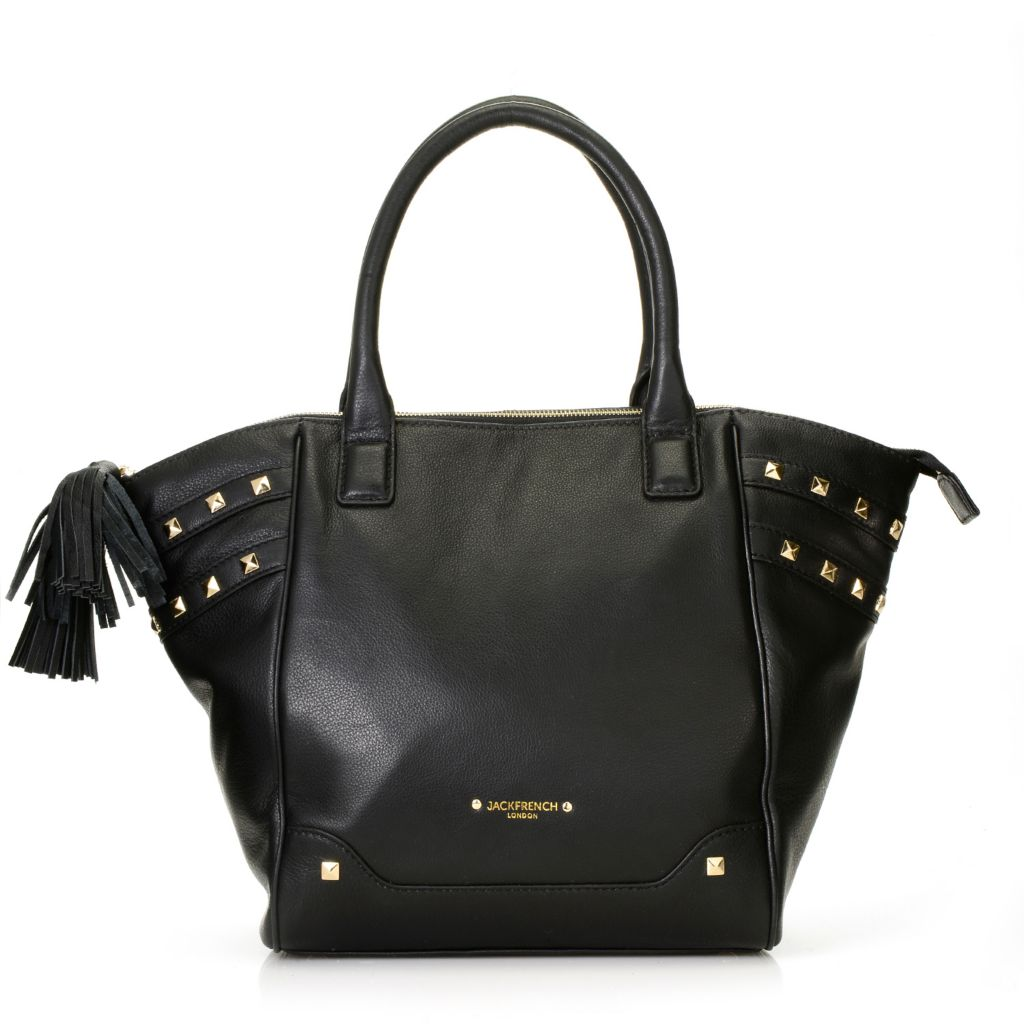 716-793 - Jack French London Pebbled Leather Double Handle Studded Zip Top East-West Tote Bag