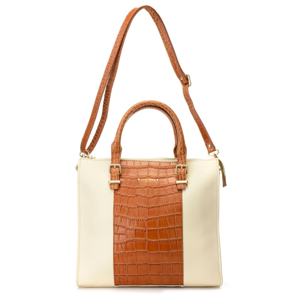 716-795 - Jack French London Smooth & Crocodile Embossed Leather Double Handle Tote Bag w/ Strap