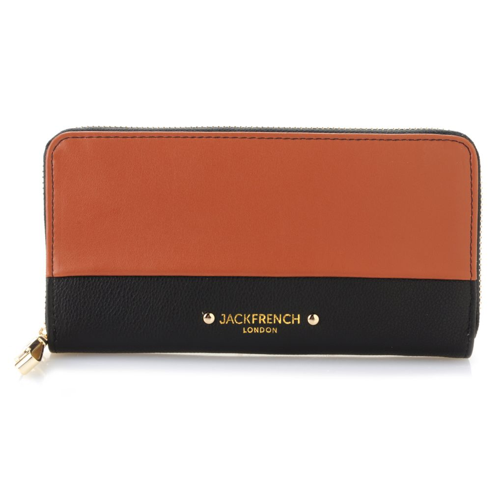 716-801 - Jack French London Pebbled & Smooth Leather Zip Around Color Block Wallet