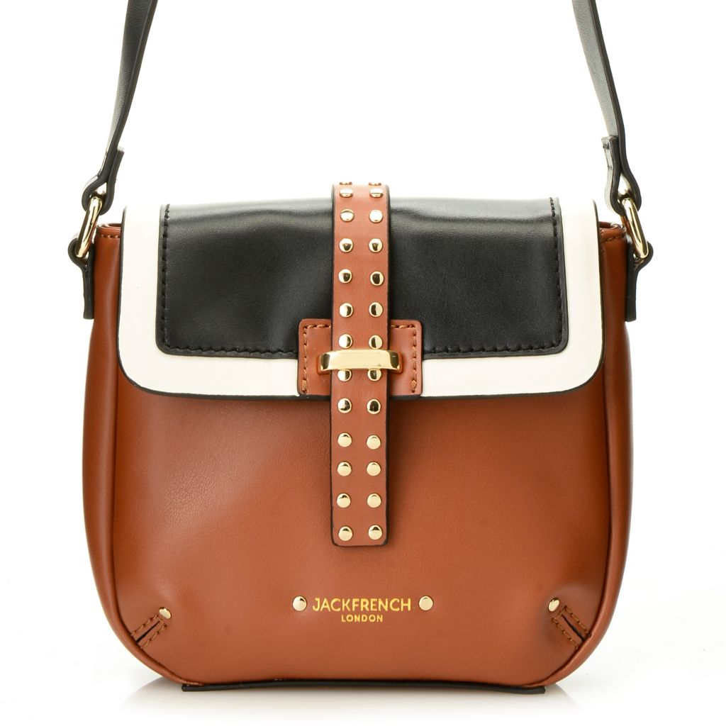 716-805 - Jack French London Leather Studded Color Block Cross Body Bag