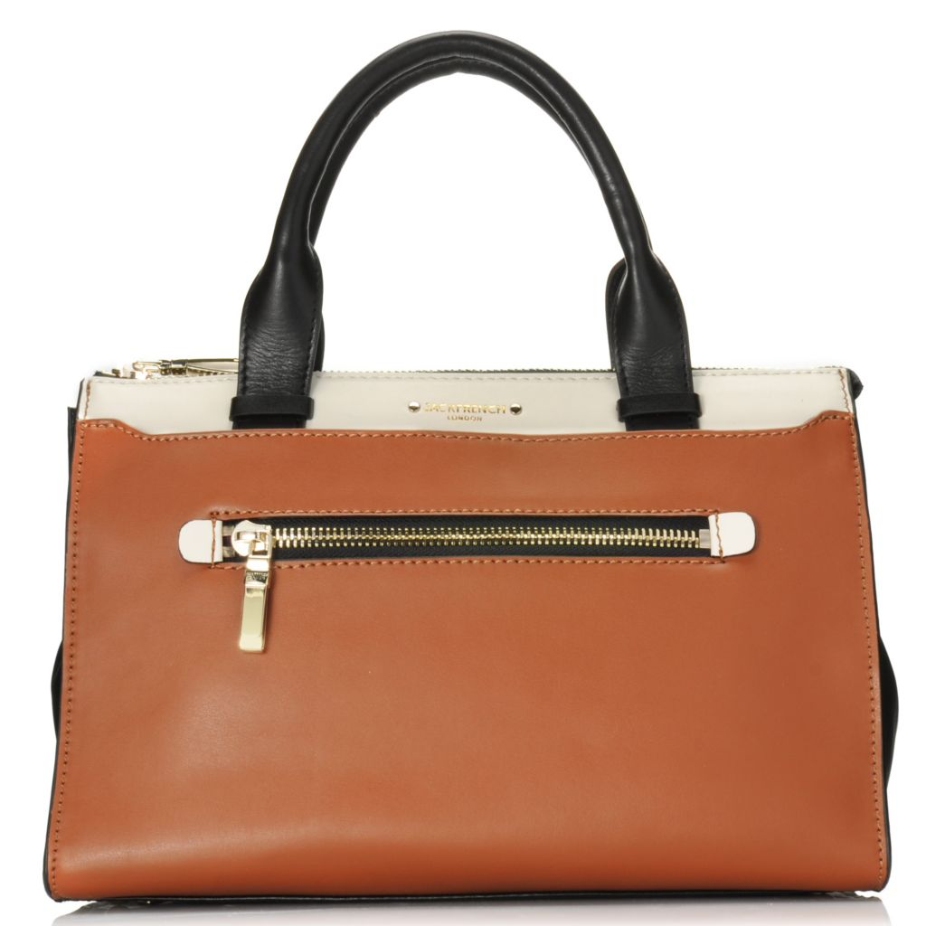 716-806 - Jack French London Leather Double Handle Multi Compartment Zip Top Satchel