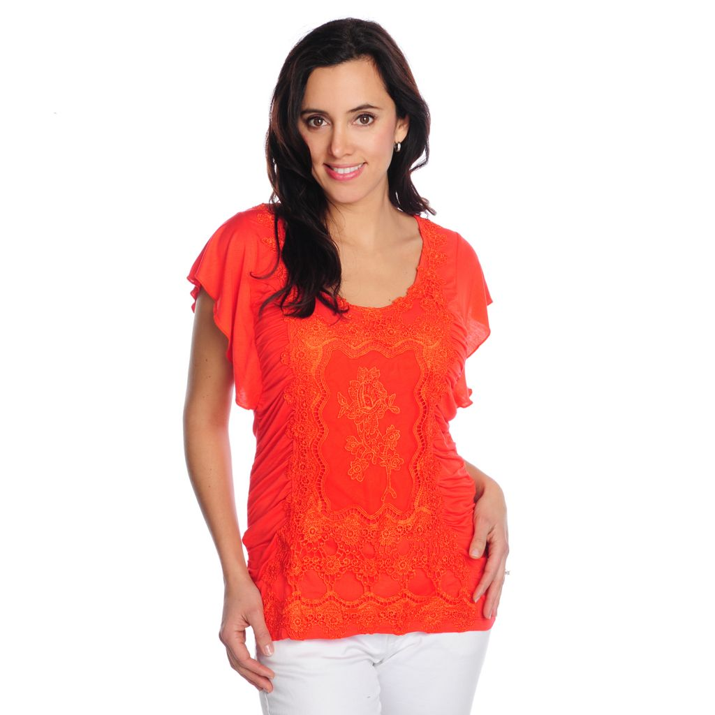 716-808 - One World Stretch Knit Flutter Sleeve Ruched Lace Front Top