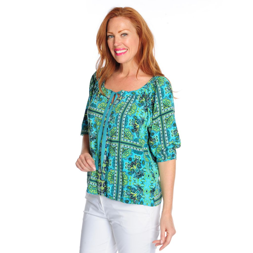 716-813 - One World Printed Challis 3/4 Sleeved Self-Tie Scoop Neck Top