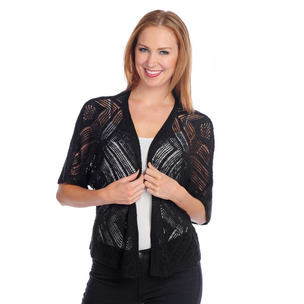 716-815 - One World Mixed Knit Dolman Sleeved Open Front Shrug