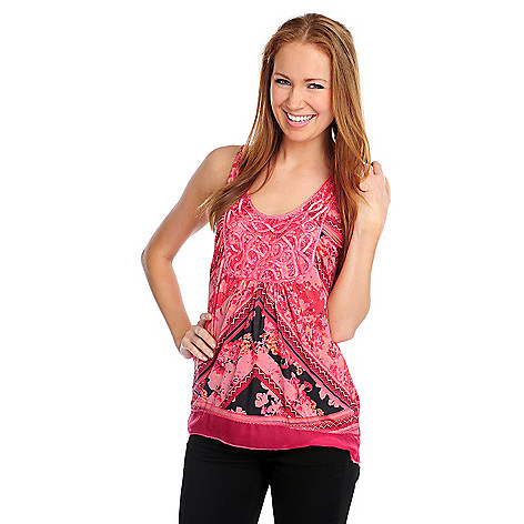 716-822 - One World Micro Jersey Chiffon Trim Applique Neck Printed Tank Top
