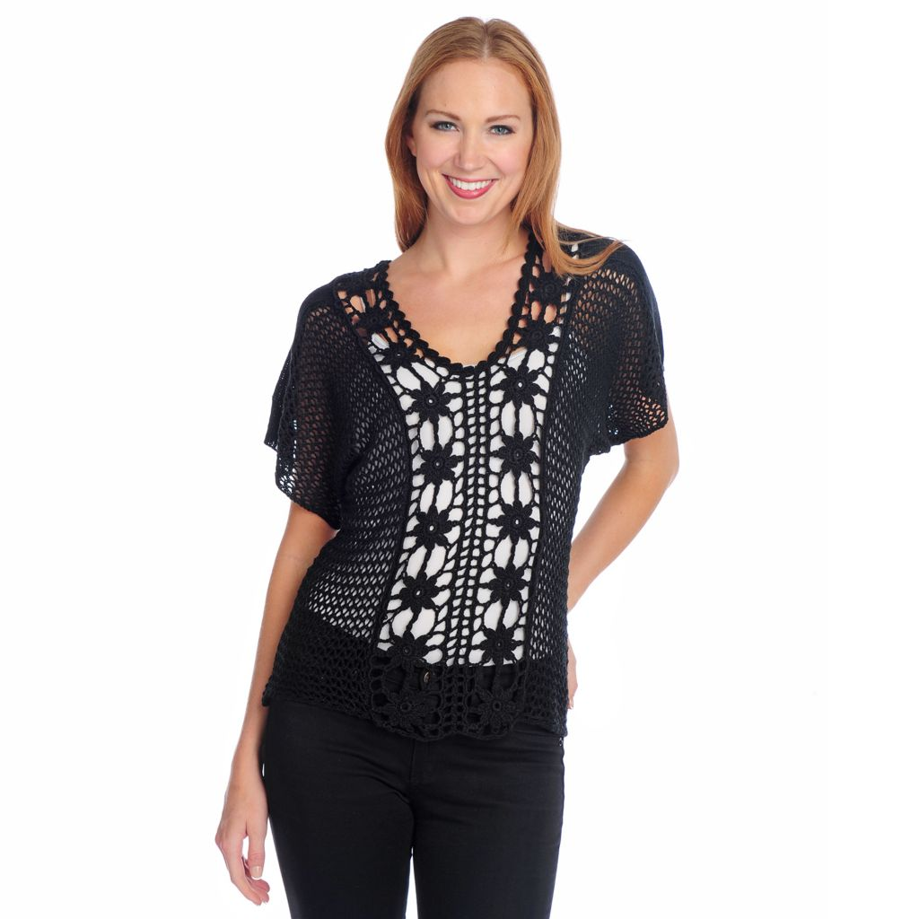 716-823 - One World Crochet Dolman Sleeved V-Neck Top