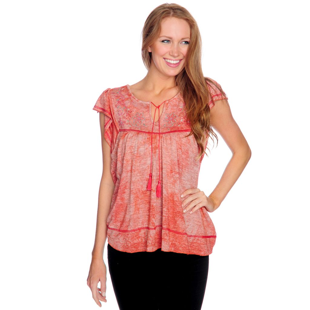 716-826 - One World Stretch Knit Flutter Sleeved Embellished Peasant Top
