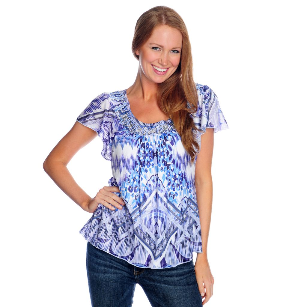 716-828 - One World Printed Knit Flutter Sleeved Embellished Scoop Neck Top