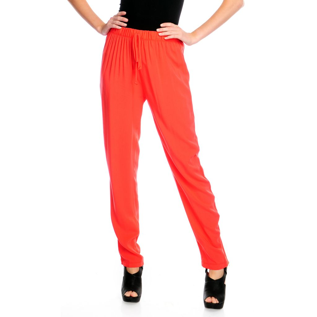 716-842 - Kate & Mallory Challis Elastic Waist Zipper Trimmed Pull-on Pants