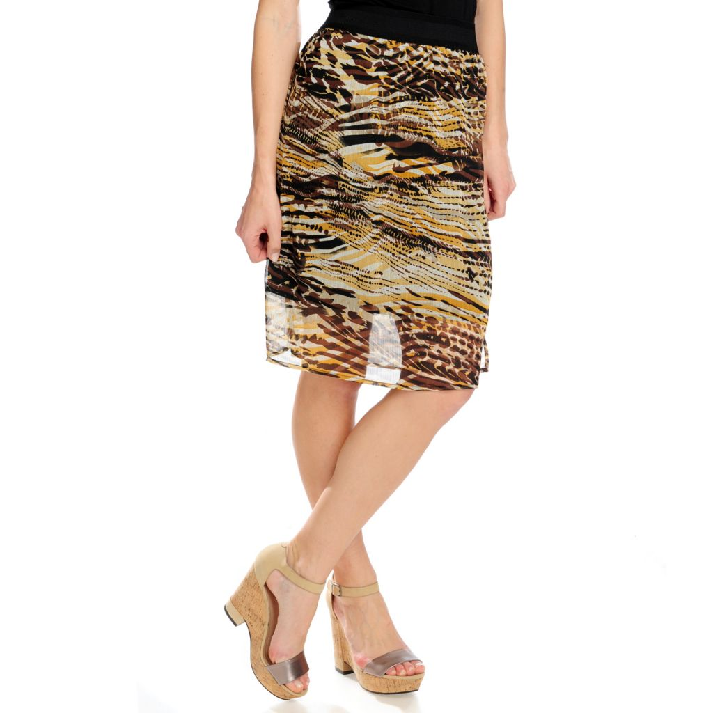 716-849 - Kate & Mallory Yoryu Elastic Waist Fully Lined Printed Skirt