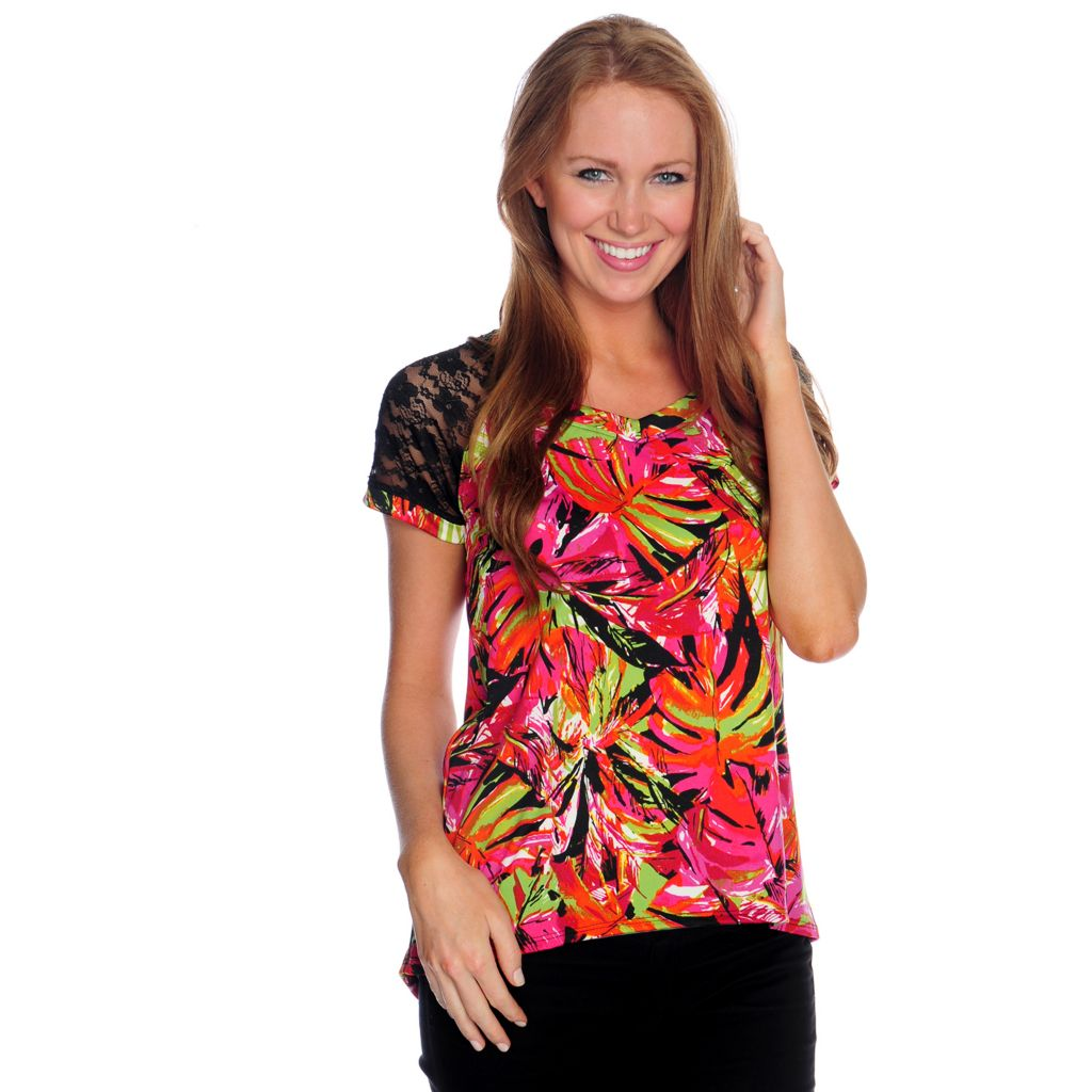 716-855 - Kate & Mallory Mixed Media Raglan Sleeved Printed Hi-Lo Top