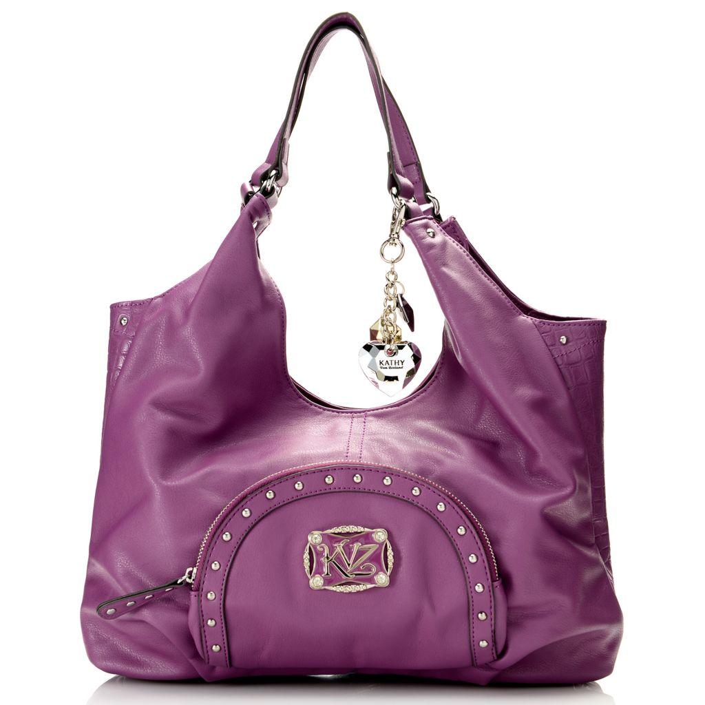 716-856 - Kathy Van Zeeland Studded Zip Around Front Pocket Shopper Handbag