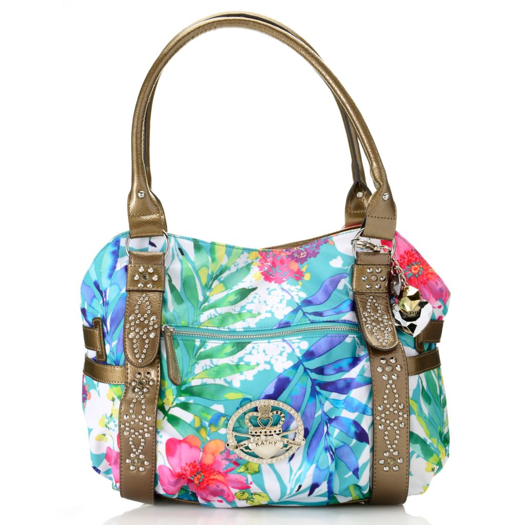 716-866 - Kathy Van Zeeland Double Handle Stud, Rhinestone & Belt Detailed Shopper Tote Bag