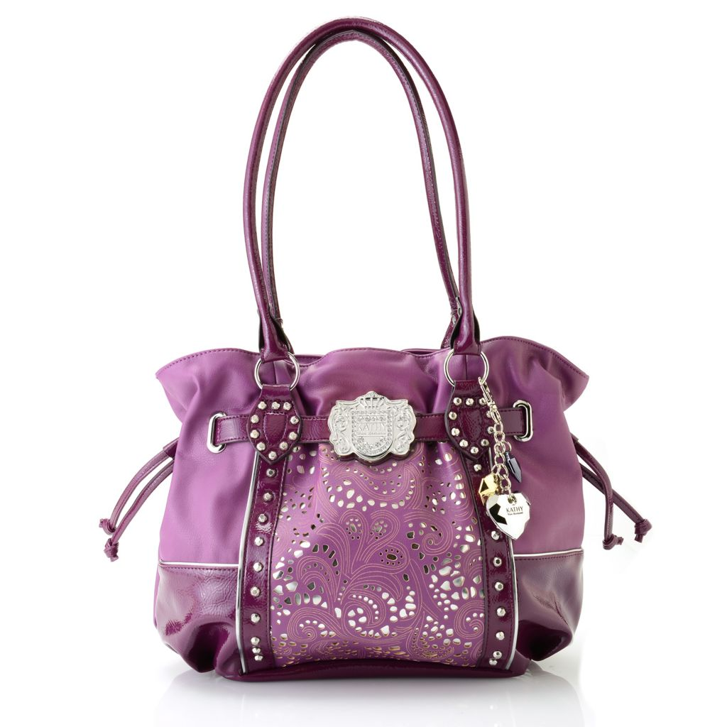 716-868 - Kathy Van Zeeland Double Handle Rhinestone, Stud & Belt Detailed Shopper Handbag
