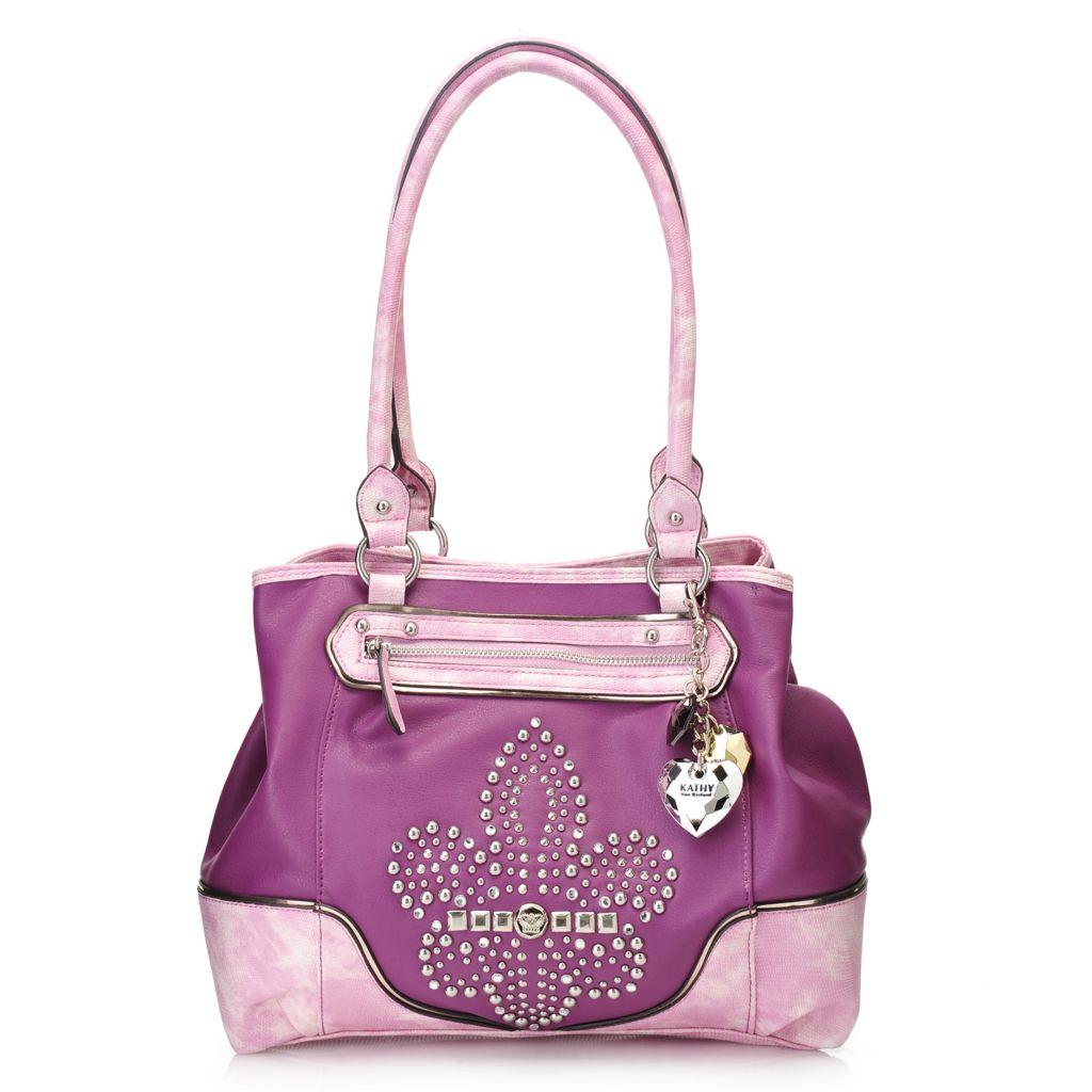 716-869 - Kathy Van Zeeland Stud & Rhinestone Embellished Fleur-de-lis Tote Bag