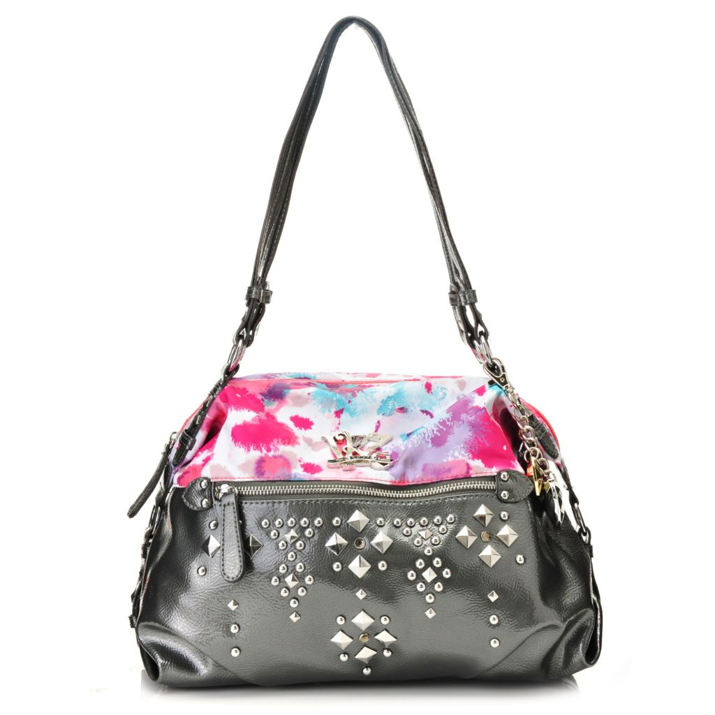 716-870 - Kathy Van Zeeland Double Handle Studded Zip Top Dome Satchel