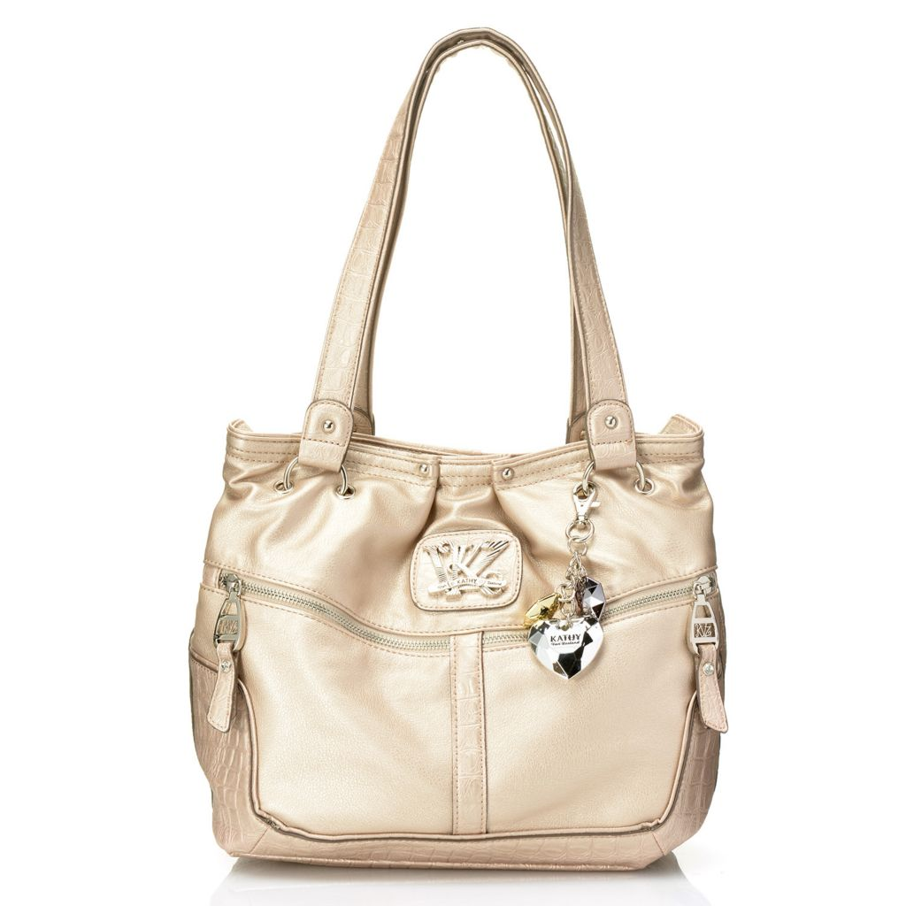 716-873 - Kathy Van Zeeland Croco Embossed Double Front Zipper Pocket Tote Bag