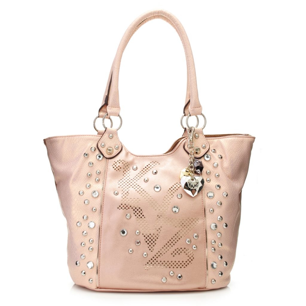 716-874 - Kathy Van Zeeland Double Handle Rhinestone & Stud Detailed Laser Cut Monogram Tote Bag