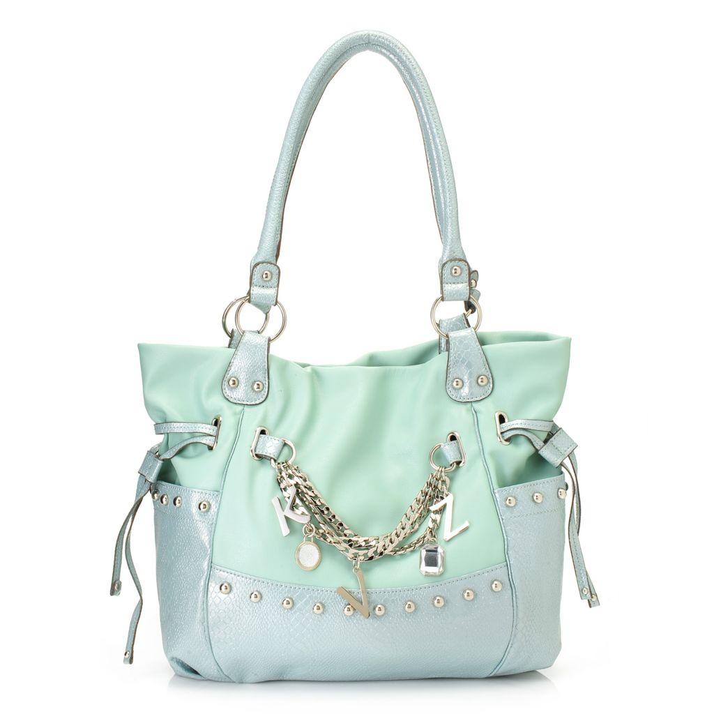 716-876 - Kathy Van Zeeland Double Handle Drawstring & Chain Detailed Shopper Handbag