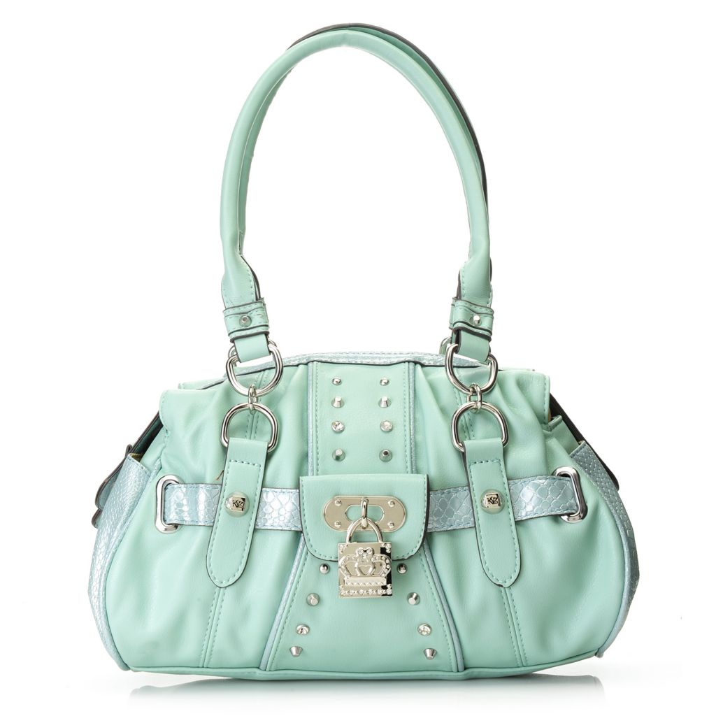 716-888 - Kathy Van Zeeland Double Handle Rhinestone & Stud Detailed Zip Top Satchel