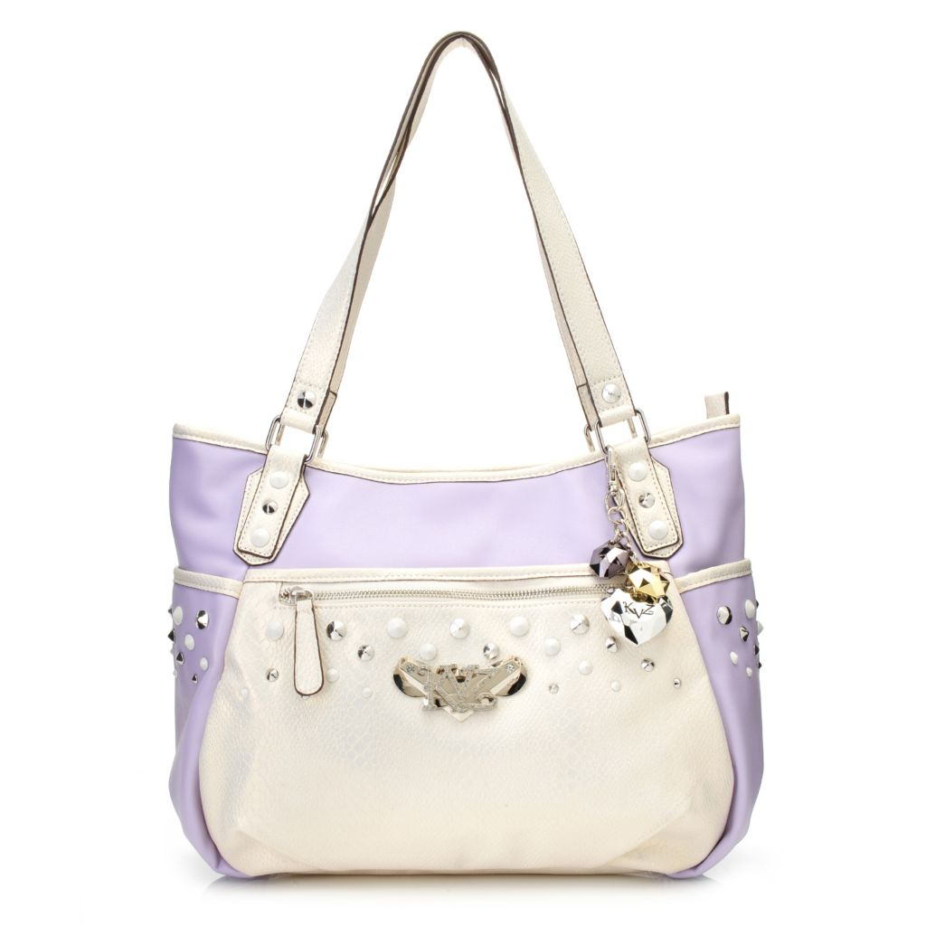 716-889 - Kathy Van Zeeland Double Handle Zip Top Studded Tote Bag
