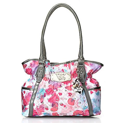 716-898 - Kathy Van Zeeland Double Handle Quilt Stitched & Stud Detailed Shopper Handbag