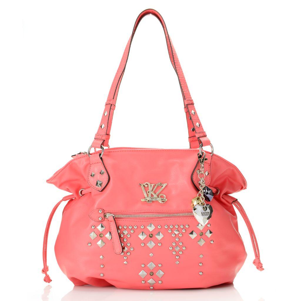 716-907 - Kathy Van Zeeland Double Handle Zip Top Drawstring Studded Shopper Handbag