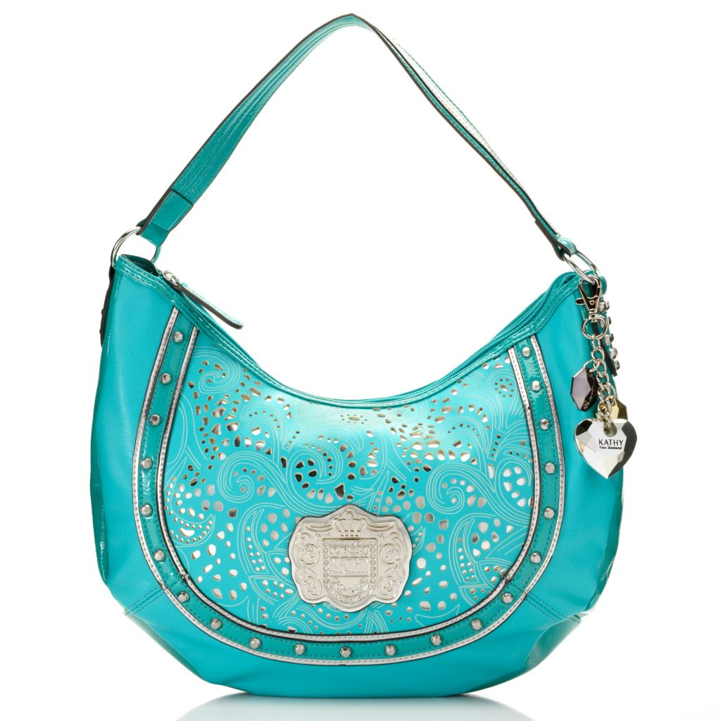 716-909 - Kathy Van Zeeland Laser Cut Studded Zip Top Hobo Handbag