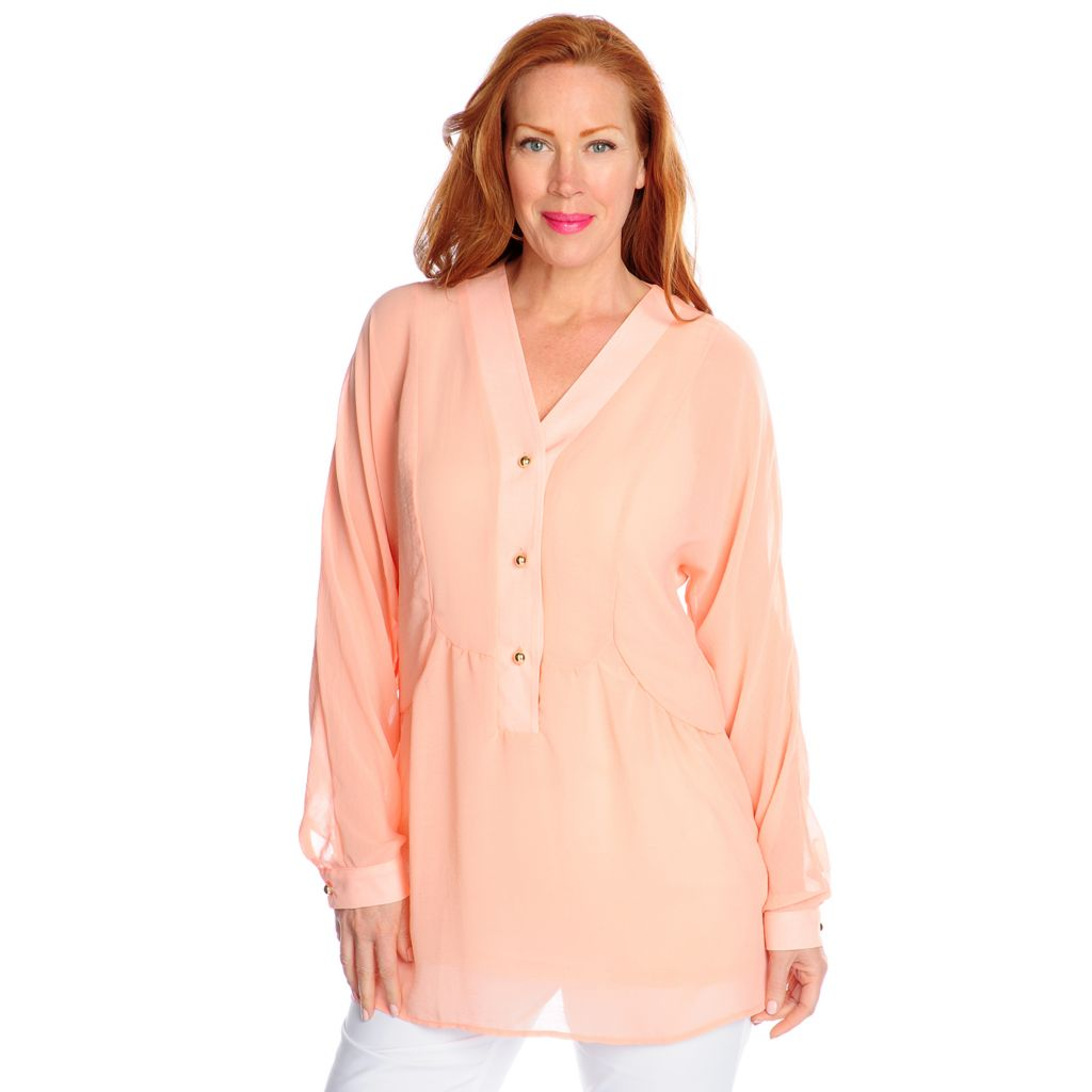 716-912 - Love, Carson by Carson Kressley Sheer Crepe Long Sleeved Blouse w/ Tank
