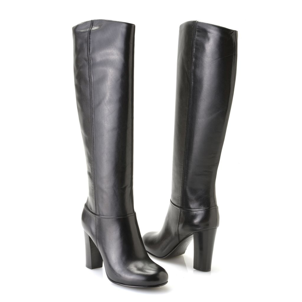 716-914 - Brooks Brothers® Leather Side-Zip High Heel Knee-High Boots