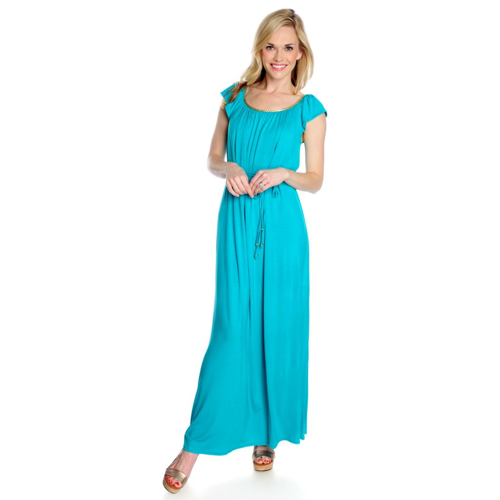 716-919 - Love, Carson by Carson Kressley Stretch Knit Ruffle Sleeved Maxi Dress