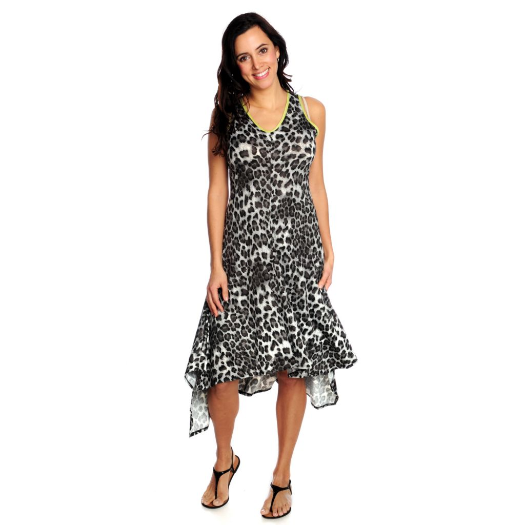 716-920 - Love, Carson by Carson Kressley Printed Knit Sleeveless Hi-Lo Midi Dress