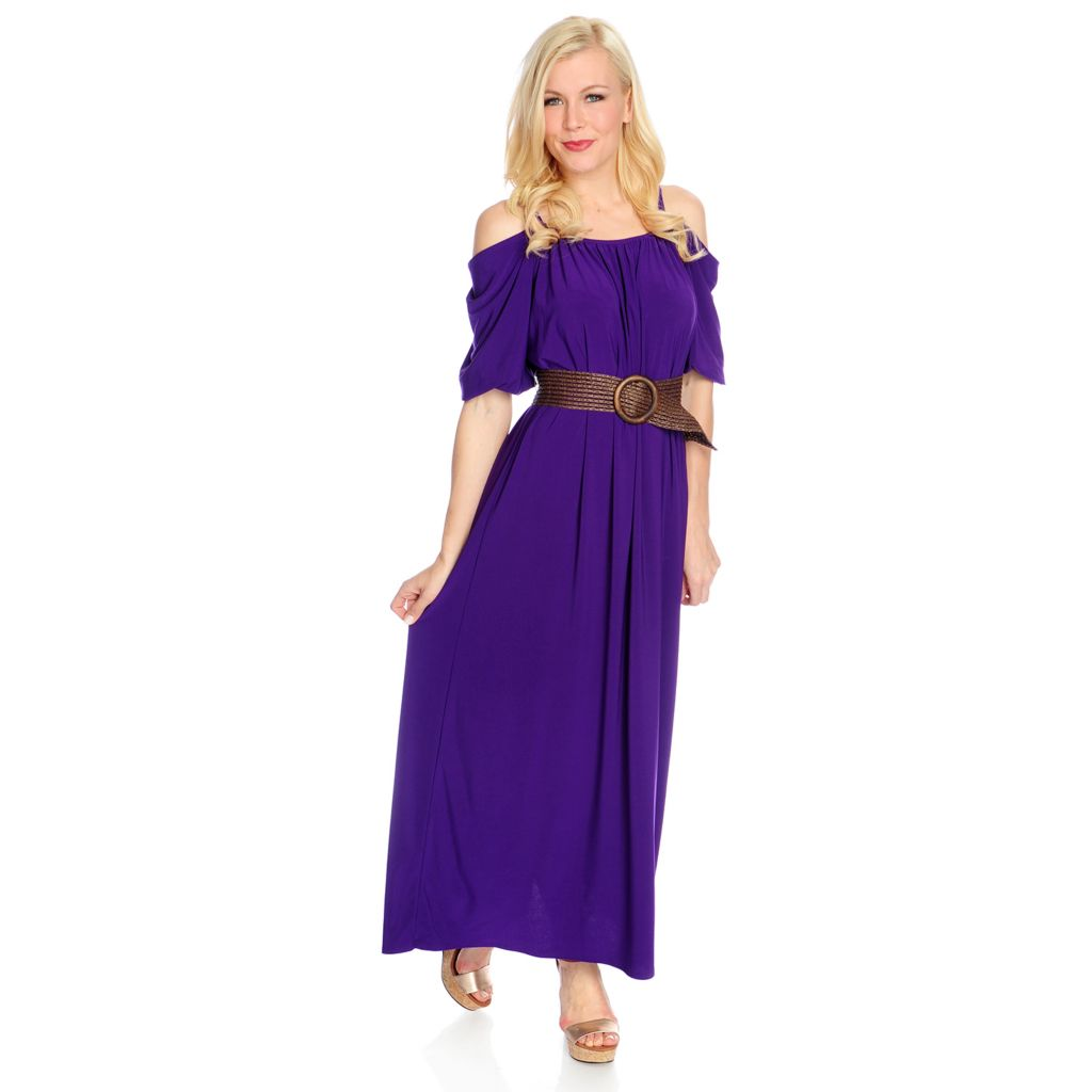716-921 - Love, Carson by Carson Kressley Stretch Knit Cold Shoulder Maxi Dress w/ Belt