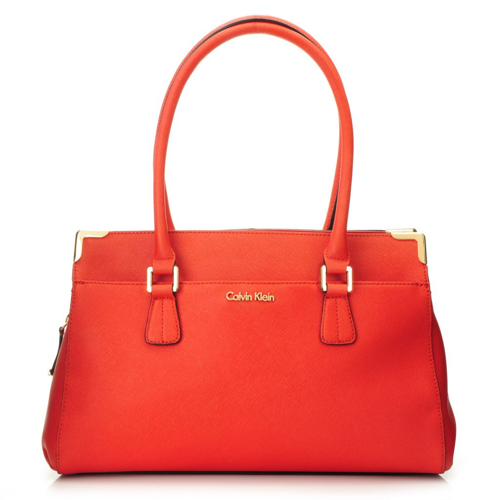 716-939 - Calvin Klein Handbags Saffiano Leather East-West Satchel