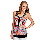 716-949 - Kate & Mallory Sleeveless Beaded Knit Chiffon Overlay Layered Top