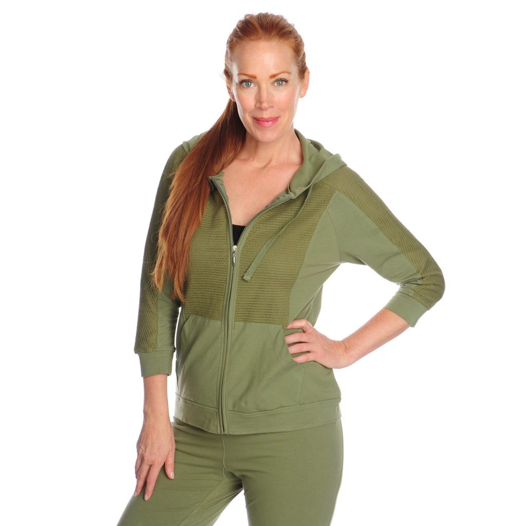 716-951 - One World Stretch Knit 3/4 Sleeved Mesh Detail Zip-up Hoodie