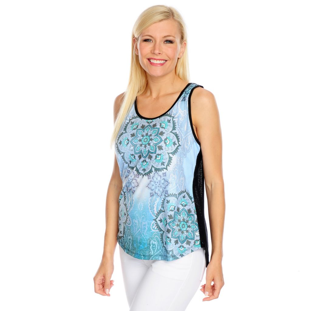 716-952 - One World Mixed Media Printed Front Mesh Back Scoop Neck Tank