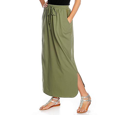 716-955 - One World Stretch Knit Mesh Detail Tie-Waist Maxi Skirt