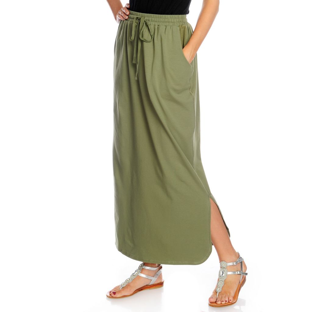 716-955 - One World Stretch Knit Mesh Detail Tie-Waist Maxi Skirt