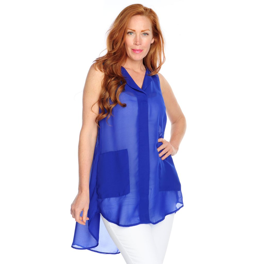 716-959 - Kate & Mallory Chiffon Sleeveless Two-Pocket Hi-Lo Tunic