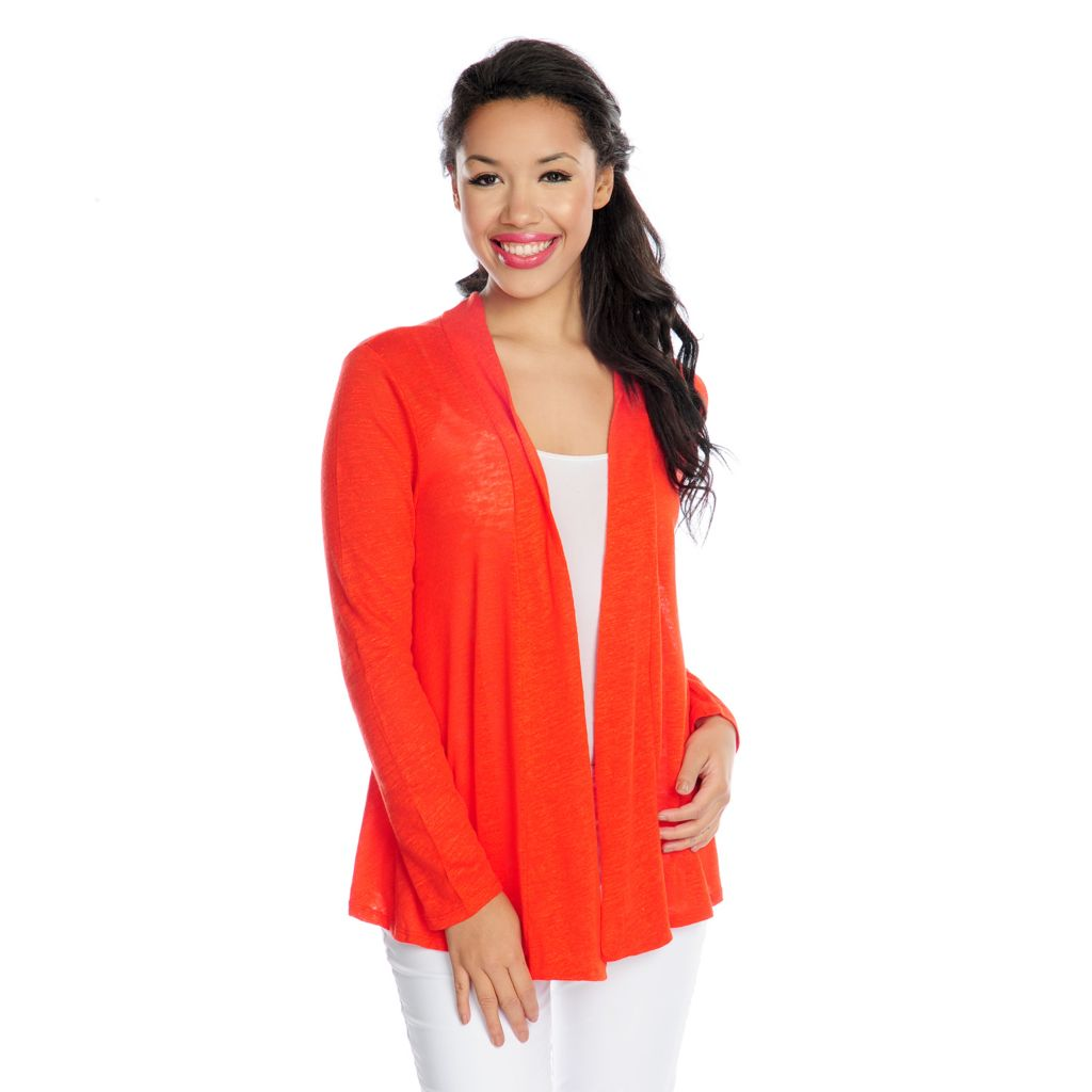 716-969 - Kate & Mallory Fine Gauge Knit Long Sleeved Twist Detail Open Cardigan