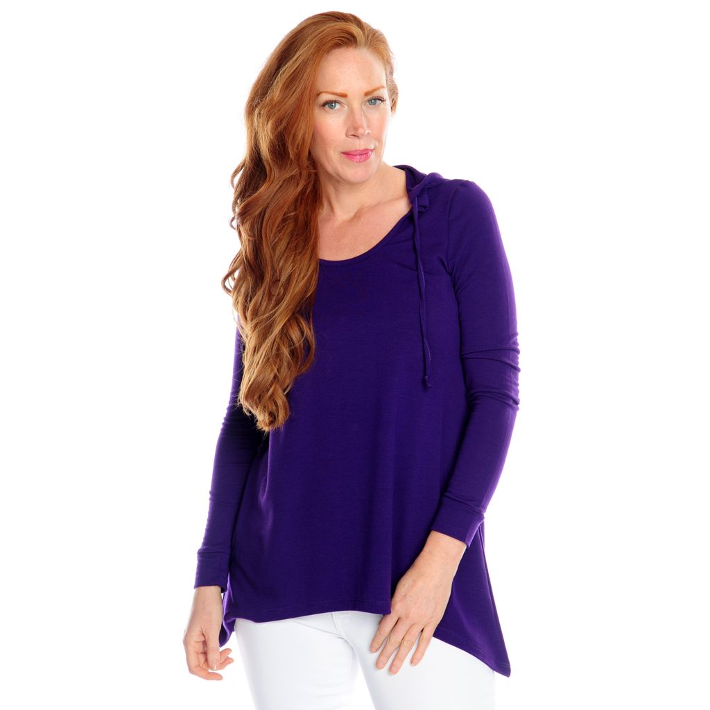 716-973 - Kate & Mallory Stretch Knit Long Sleeved Scoop Neck Hooded Top